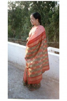 Observe ,how in thid synthetic polyester saree, a tradtional look is achieved.Observe how its pallu, border, and body correlate with each eachother( the wearer Mrs. Nirmala prasad is the wife of the hubwriter-Mr.Prasadjain)
