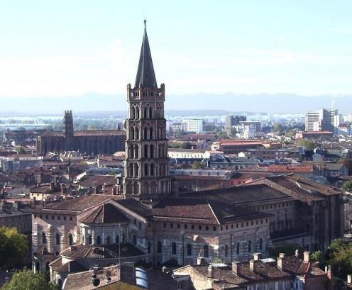 View of Saint-Sernin Basilica, Toulouse, France