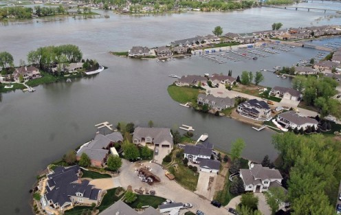 Aerial view of an area in south Bismarck.