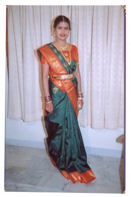 A south Indian hindu bride, in pure silk saree, on her wedding day