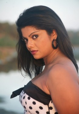 Swathi in a strapless dress