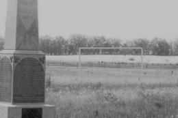 ghosts walking along fenceline