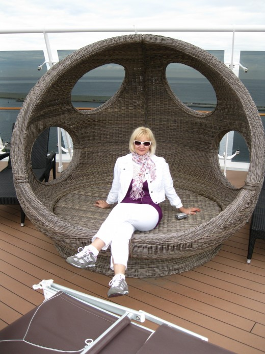 Relaxing on the deck of the MSC Splendida