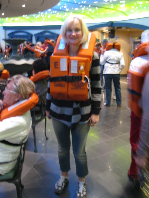 Safety is important - a life jacket drill on board the Splendida