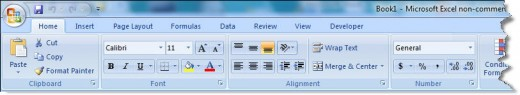 Microsoft Excel Ribbon Menu Bar