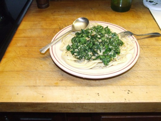 Walnut Pesto over Linguini (you can use pine nuts if you like.)