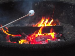 Marshmallows over a fire on the Pacific.
