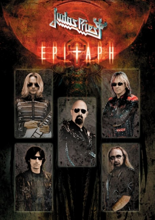 "Official ""Epitaph"" farewell tour image, featuring new guitarist Richie Faulkner (top left) who is taking K.K. Downing's place on this tour."