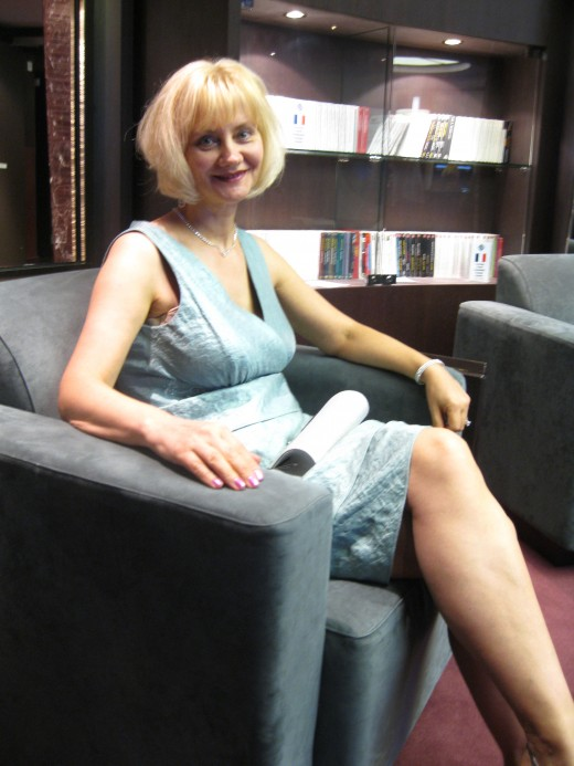 Relaxing in the Library of the cruise ship Splendida