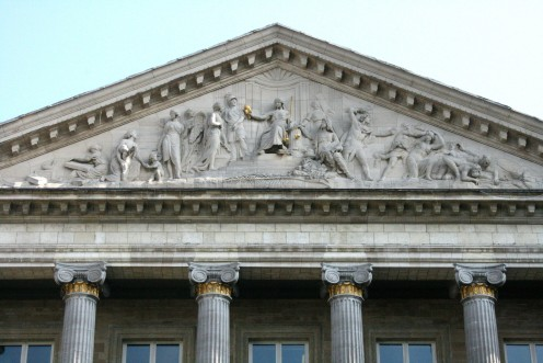 Palace of the Nation pediment (1781) by Gilles-Lambert Godecharle, Brussels, Belgium