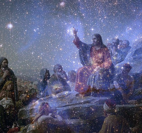 Sermon on the Mount by Carl Heinrich Bloch, against the backdrop of NGC 384 in the Small Magellanic Cloud. Nebula courtesy NASA, PD.