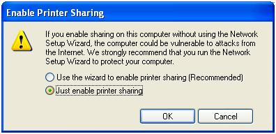 "Click on ""just enable printer sharing""."