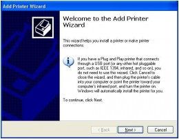 The add printer wizard