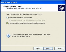 Specify local or network printer