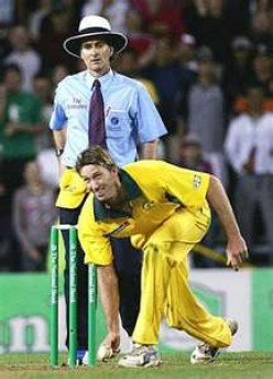 Glenn McGrath dummies an underarm delivery - mocking Trevor's Underam '81.