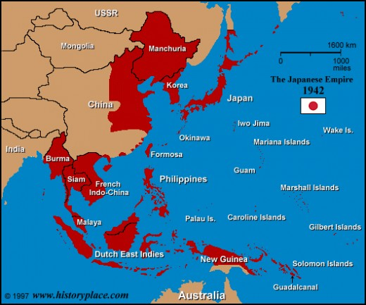 Extend of the Japanese Empire during WWII