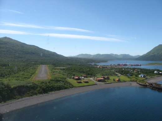 A plane's aerial approach to Larsen Bay, AK