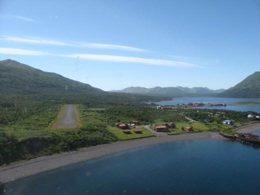 A plane's aerial approach to Larsen Bay, AK