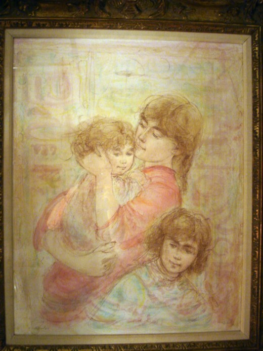 Mother and Two Children by Edna Hibel