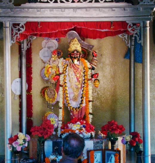 The idol of Bramhamoyee Kali in the Bramhamoyee temple