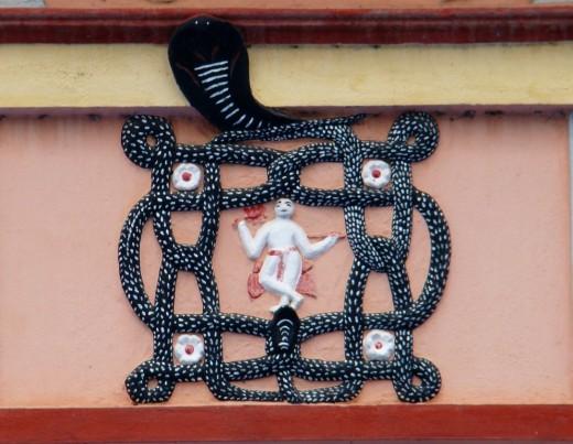 A mystical Yoga symbol on the Bramhamoyee temple
