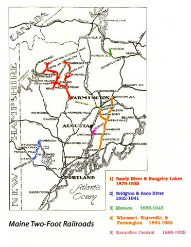 Maine once had five operating narrow gauge railroads.