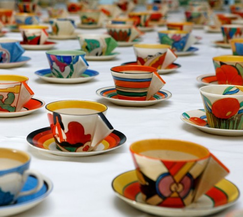 Clrice Cliff cups and saucers, from a large private collection that went up for auction in 2006