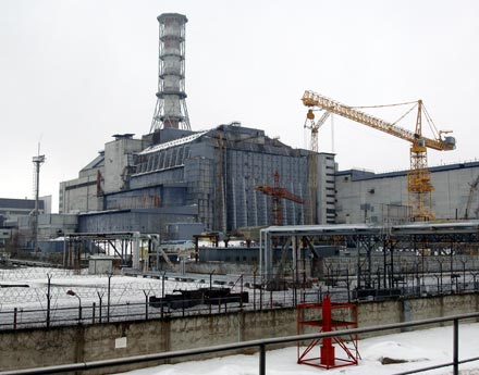Reactor 4, also now known as the sarcophagus since being covered in cement.
