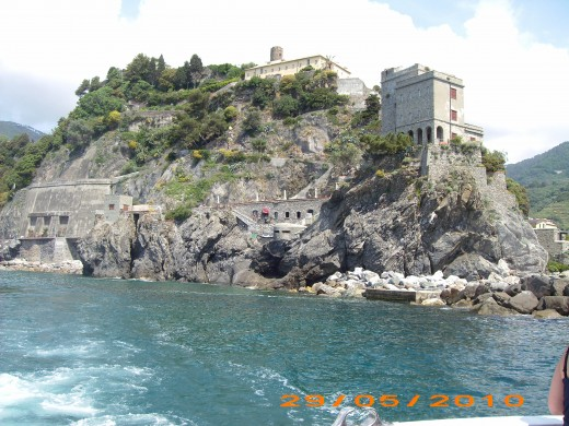 The Cinque Terre's coast from the sea
