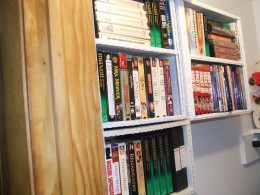 These shelves were Black!  I sprayed them white and store VHS tapes in  a walk-in closet. Yes, we still use a VCR, sometimes.