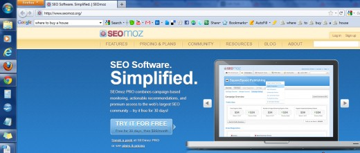 "The tab in the upper-left hand corner of the screen shows the title tag ""SEO Software. Simplified. 