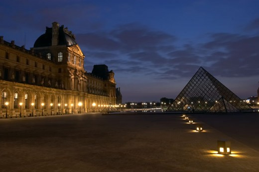 The Louvre Paris at night