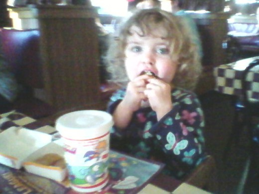 Dining out - not a free thing, but a fun thing, especially when you're eating McDonald's chicken nuggets in a Pizza Hut!