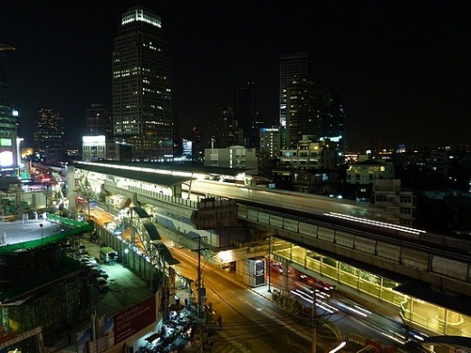BTS Sky Train elevated tracks above Sukhumvit Road
