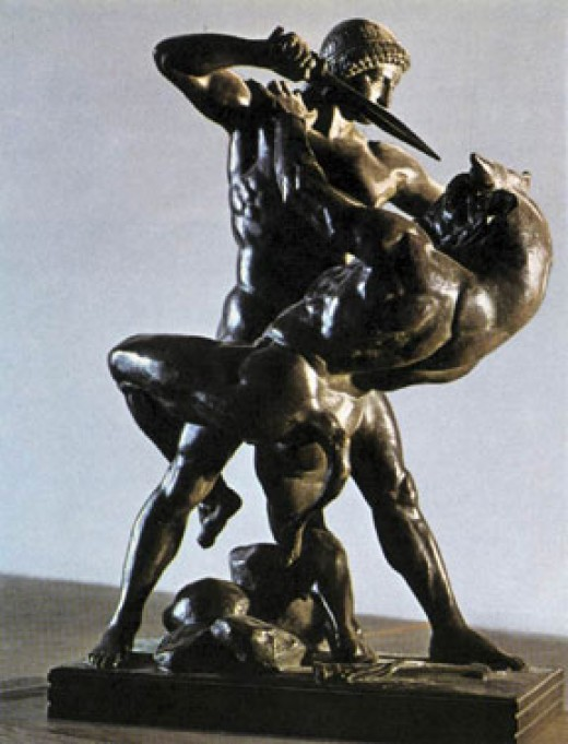 Theseus Slaying the Minotaur by Antoine-Louis Barye, Musee du Louvre, Paris