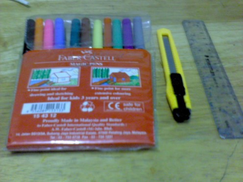 markers, penknife,ruler....
