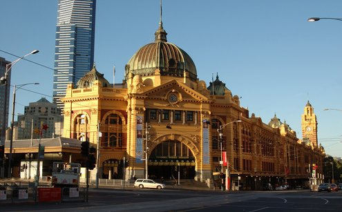 Flinders Street Station. In the background you can see the Eureka Tower