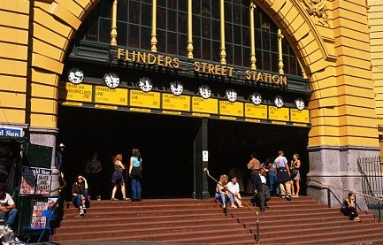 'Meet ya at the clocks?' The steps of the Flinders Street Station are a hangout place for many