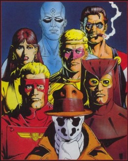 Left to right from top row: Dr. Manhattan, the Comedian, the Silk Spectre, Ozzymandias, Captain Metropolis, Night Owl, Rorshach
