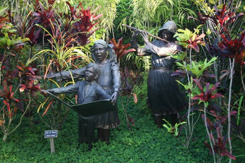 One of the groups of bronze statues in the gardens, this one being of singers.