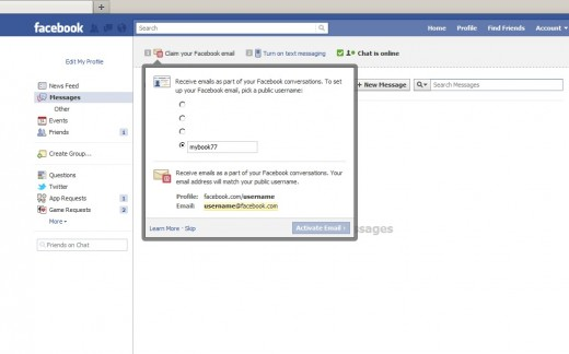 how to set up a facebook email