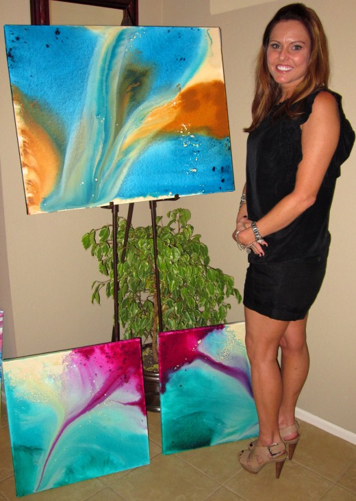 Orange County, California artist Cezanna Wedge at her May, 2011 art show.