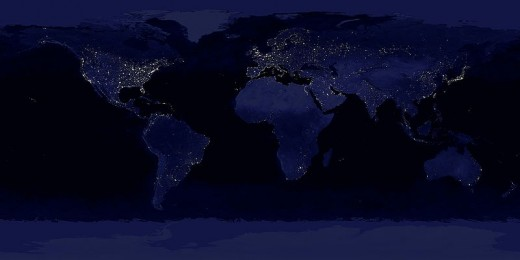 The Earth at night, a simulated night-time image of the world during the anthropocene.