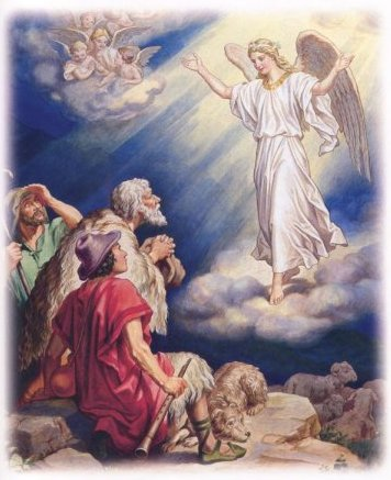 Angels visit the shepherds.