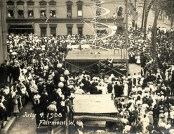 A photo taken of the festivities of Fairmont, West Virginia's 4th of July celebration, 1908. which became one of the two fated events to overshadow the Williams Memorial Methodist Church's planned First Father's Day celebration.
