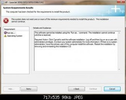 Screenshot of HP Installer Error Message