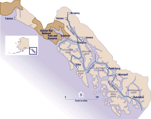 American Portion of the Panhandle's Inside PassageThis part of the Inside Passage encompasses at least 1,000 islands.