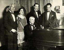 George Gershwin (at right) in 1928, with Maurice Ravel on the piano