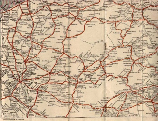 1910 Oil Company Road Map