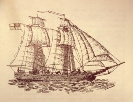 A drawing of a typical topsail schooner from the early 19th century.